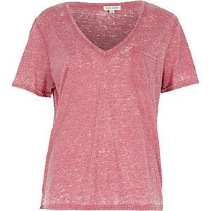 T-shirt rouge effet burnout à col en V