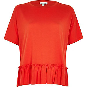 Red cropped peplum T-shirt