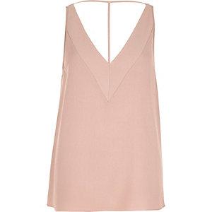 Pink textured T-bar cami top