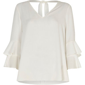 White layered flute sleeve top