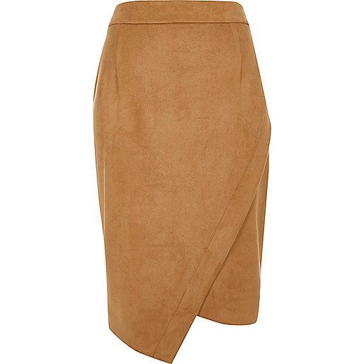 Camel faux suede wrap pencil skirt