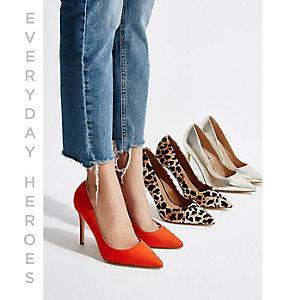 Orange faux suede court shoes