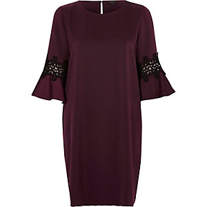 Dark purple trumpet sleeve swing dress