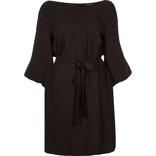 Black puff sleeve tied swing dress
