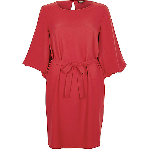 Red tie waist long sleeve dress