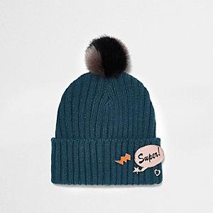 Teal blue badge knit bobble hat
