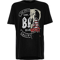 Black print slashed boyfriend T-shirt