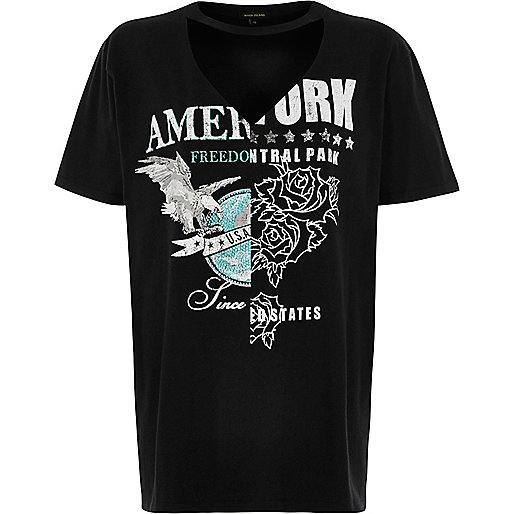 Black spliced print cut-out rock T-shirt