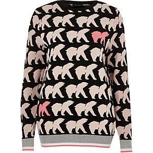 Black polar bear print Christmas jumper