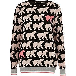 Black polar bear print Christmas jumper