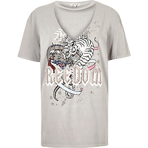 Grey print choker neck boyfriend T-shirt