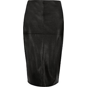 Black leather look side zip pencil skirt
