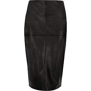 Black leather look side zip pencil skirt