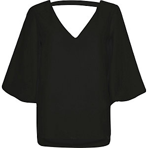 Black plunge puff sleeve top