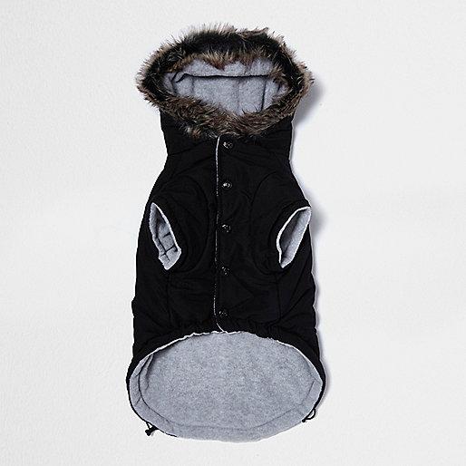 RI Dog black faux fur hooded ski jacket
