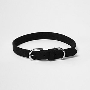 RI Dog black embellished dog collar