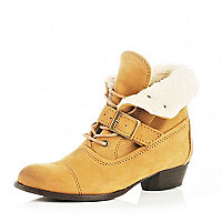 Girls beige borg lined ankle boots