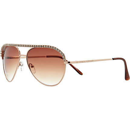 Girls gold diamante aviator sunglasses