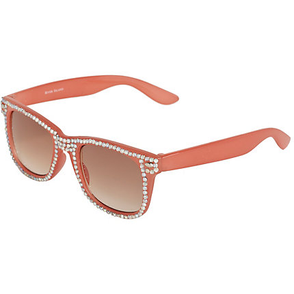 Girls coral diamante retro style sunglasses