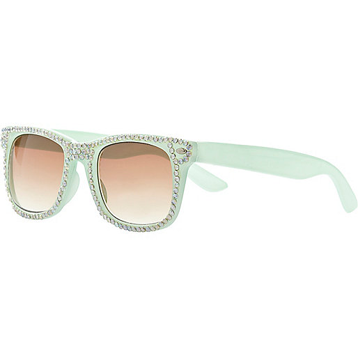 Girls mint diamante retro style sunglasses