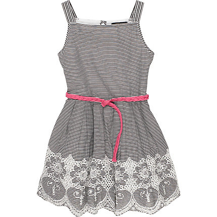Girls navy stripe embroidered dress