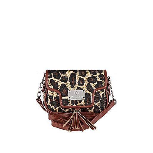Girls leopard print cross body rafia bag