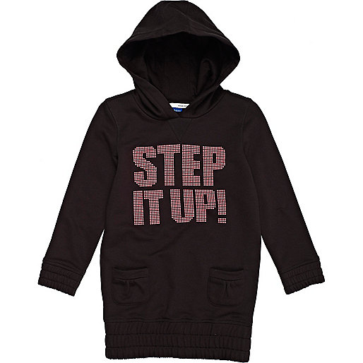 Girls black step it up sweat dress