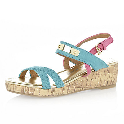Girls turquoise wedge sandals