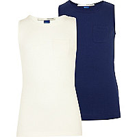 Girls navy and white 2 pack of vests