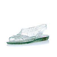 Girls white glitter twist front jelly sandals