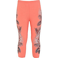 Girls coral floral cropped leggings