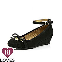 Girls black ankle strap wedges