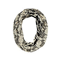Girls ecru zebra print snood