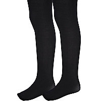 Girls black 2 pack of tights