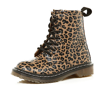 Girls brown leopard print chunky boots