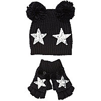 Girls black pom pom beanie and mitten set