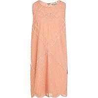 Girls pink embellished shift dress