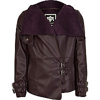Girls purple leather look waterfall jacket