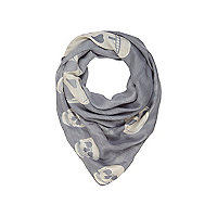 Girls grey skull print snood