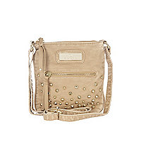 Girls beige studded messenger bag