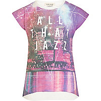 Girls purple all that jazz print t-shirt