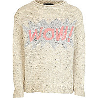 Girls beige wow sequin jumper