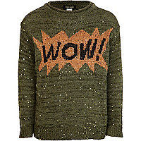 Girls khaki wow sequin jumper