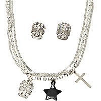 Girls silver tone multi strand necklace set