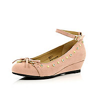Girls pink studded ankle strap wedges