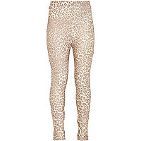 Girls gold animal shimmer leggings