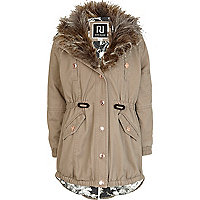 Girls beige fur trim parka jacket