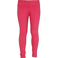 Girls pink studded leggings
