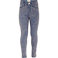 Girls pink acid wash jeggings