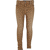 Girls brown animal print skinny jeans